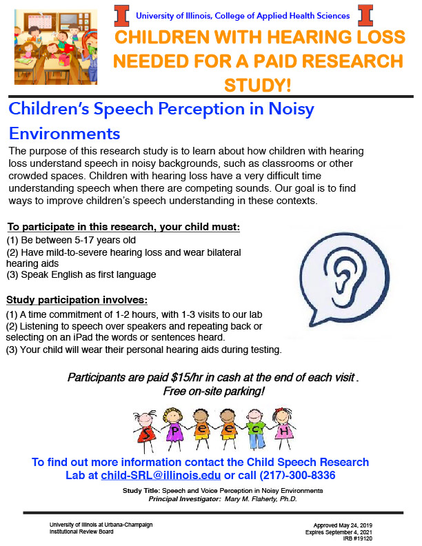 flier reading Children with hearing loss needed for a paid research study